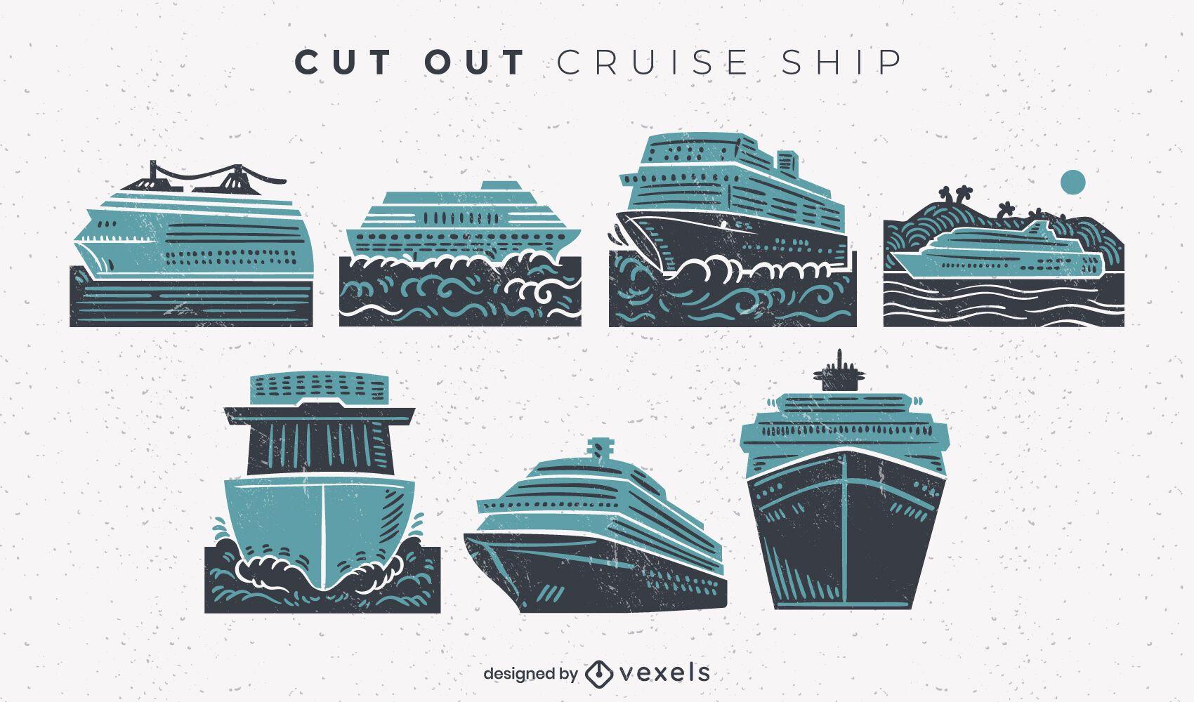 Conjunto de recortes de barco de crucero