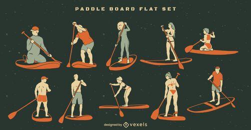 Conjunto de elementos de paddleboard plano