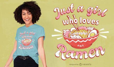 Diseño de camiseta ramen lover