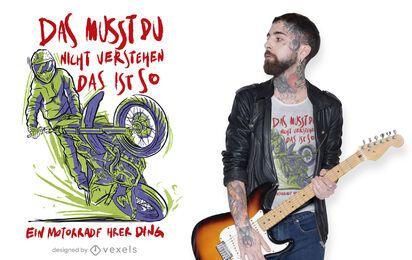 Motorcyclist German quote t-shirt design