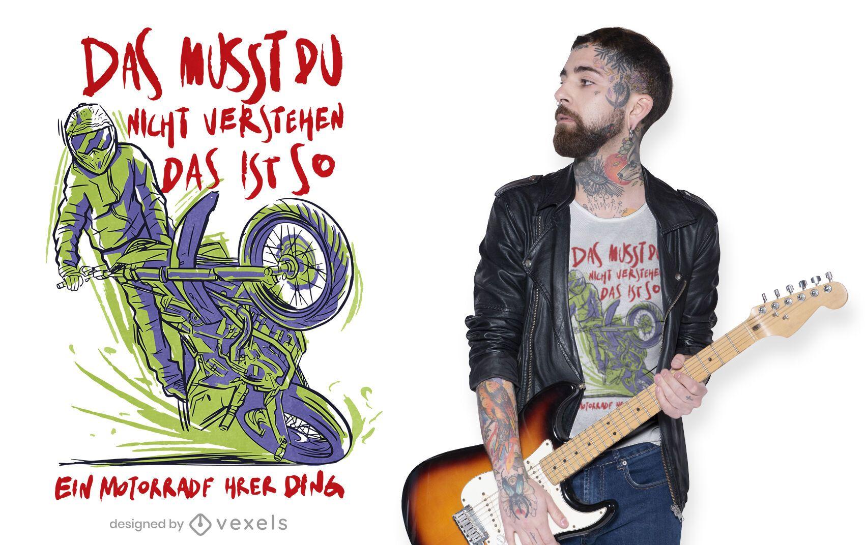Diseño de camiseta de cita alemana motociclista.