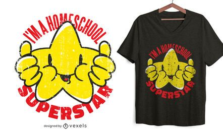 Diseño de camiseta de superestrella de educación en el hogar.