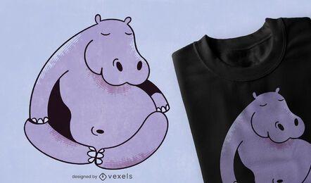 Diseño de camiseta de yoga hipopótamo