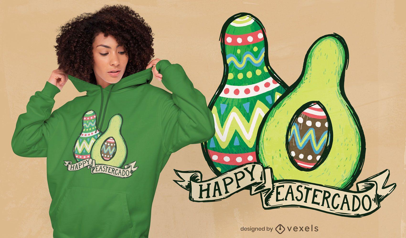 Diseño de camiseta happy eastercado