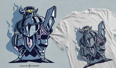 Diseño de camiseta de cuchillo robot.