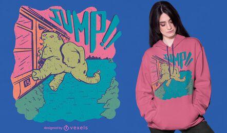 Design de camiseta de elefante ferroviário