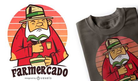 Diseño de camiseta de aguacate de granjero.