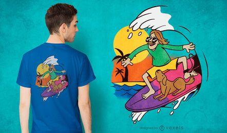 Surfer guy dog t-shirt design