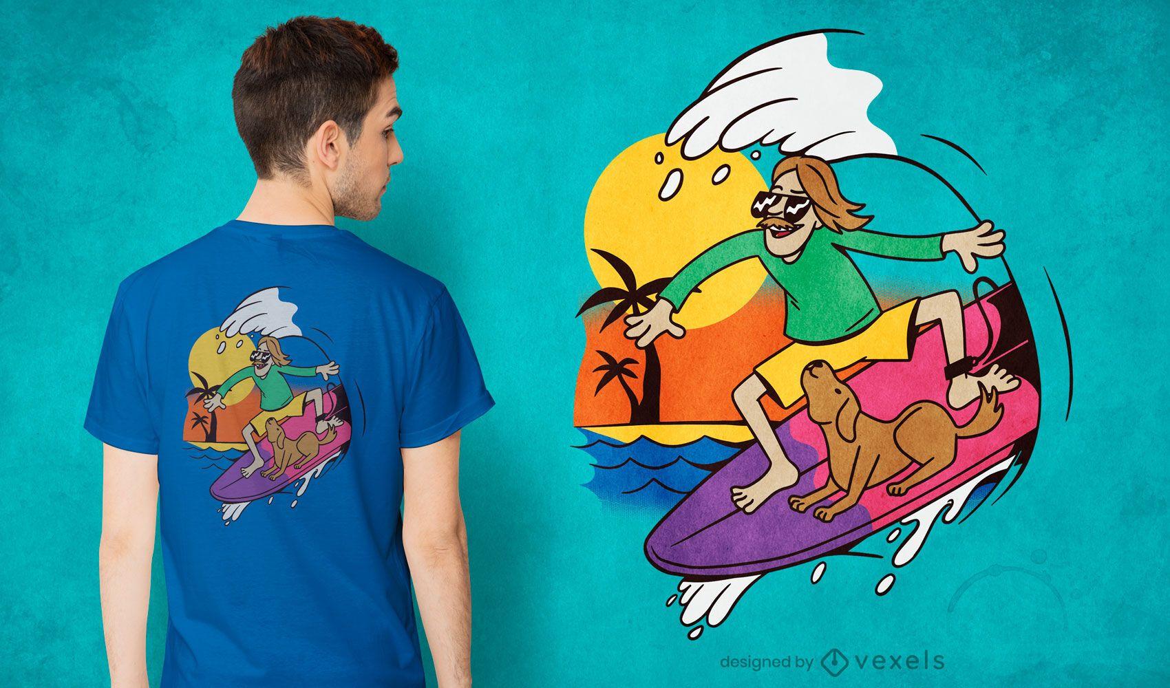 Diseño de camiseta de perro surfista