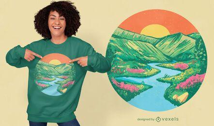 Diseño de camiseta de pintura de amanecer.