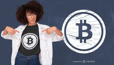Bitcoin grunge t-shirt design