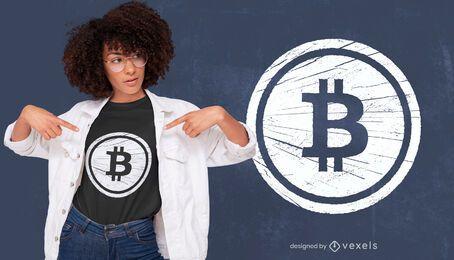 Diseño de camiseta de Bitcoin grunge