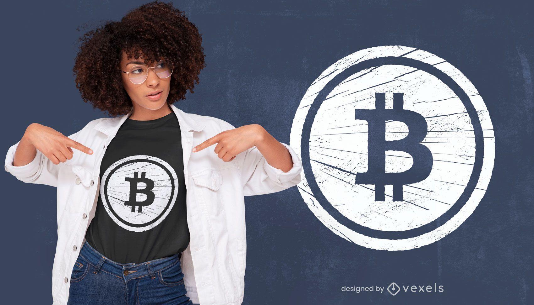 Bitcoin grunge t-shirt design