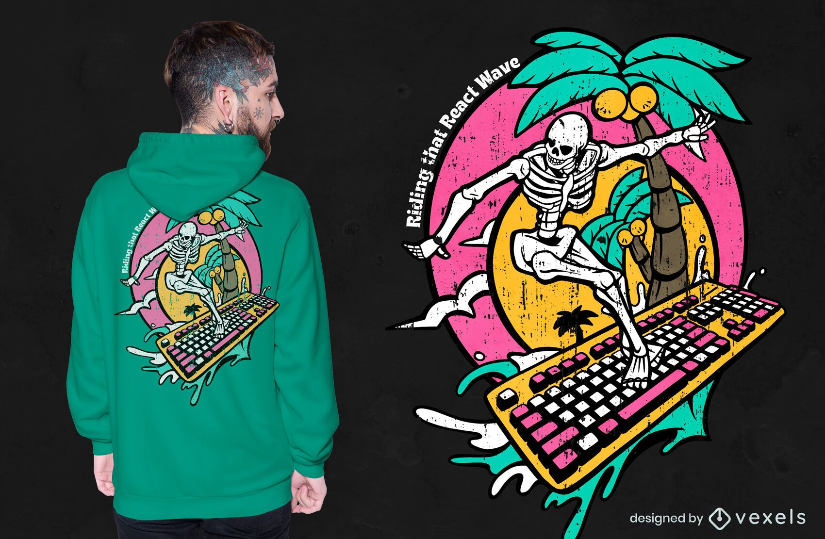 Diseño de camiseta de teclado de surf esqueleto