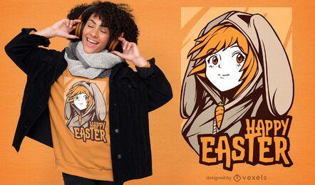 Diseño de camiseta de chica anime de pascua
