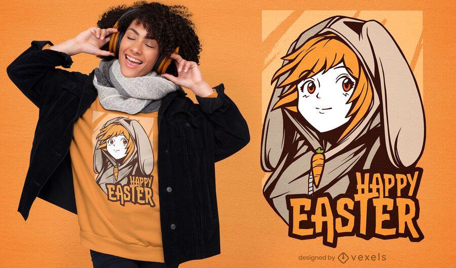 Easter anime girl t-shirt design