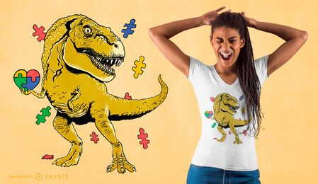 Diseño de camiseta t-rex puzzle