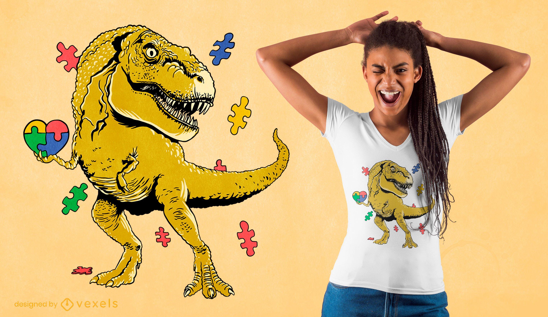 Dise?o de camiseta t-rex puzzle