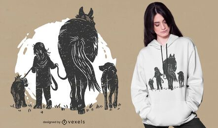 Girl and animals t-shirt design