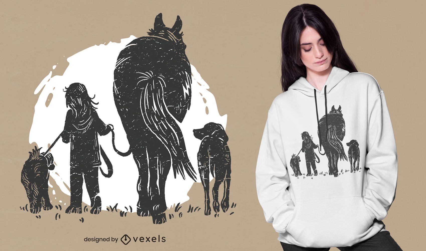 Diseño de camiseta de niña y animales.
