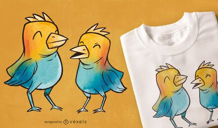 Watercolor birds t-shirt design