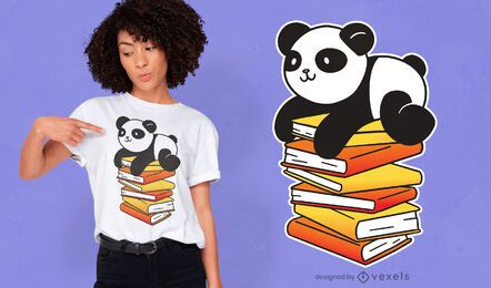 Panda books t-shirt design