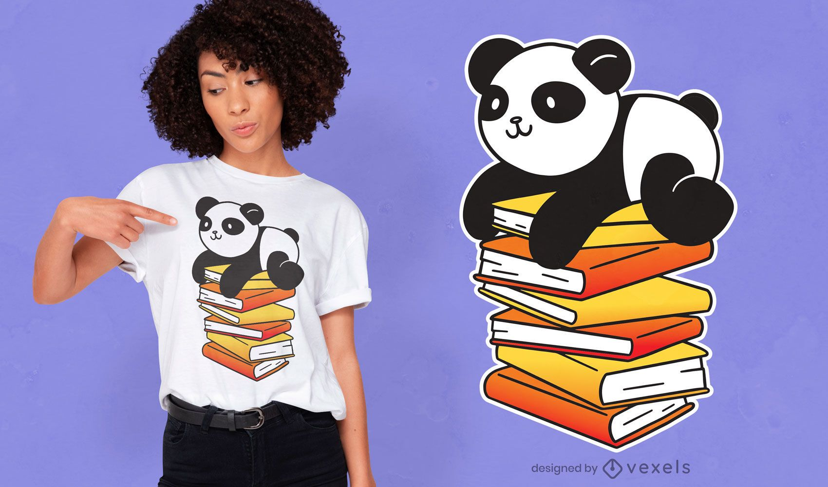 Diseño de camiseta de libros de panda.