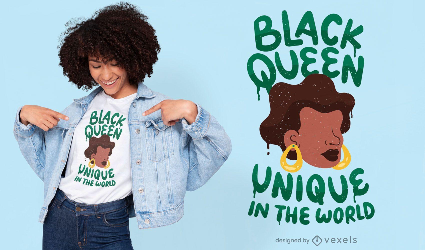 Unique black queen t-shirt design