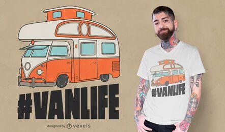 Design de t-shirt de autocaravana de furgão
