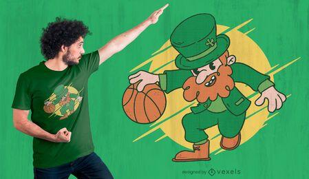Diseño de camiseta de baloncesto Leprechaun.