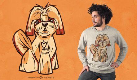 Diseño de camiseta de perro amor mamá