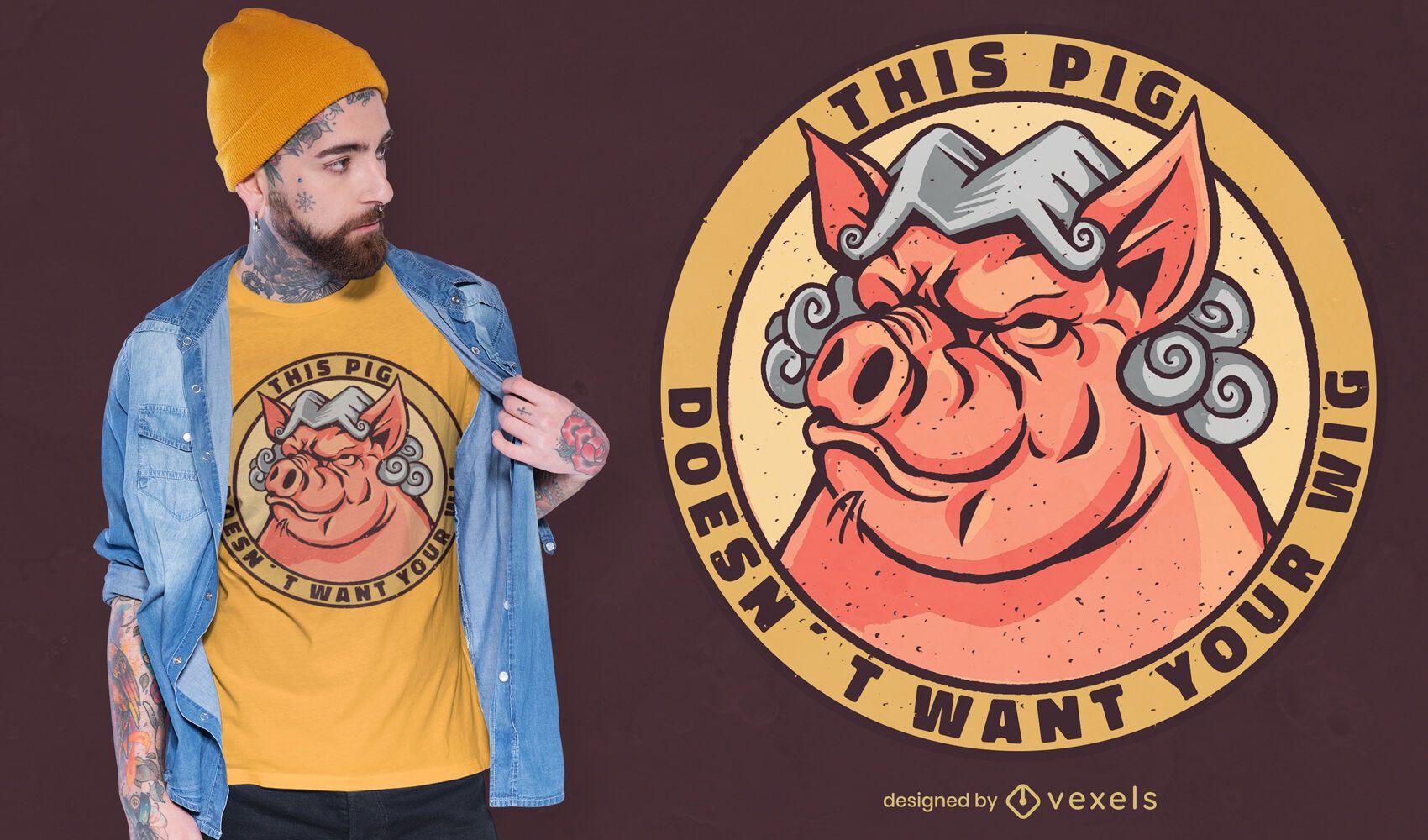 Diseño de camiseta de cerdo peluca