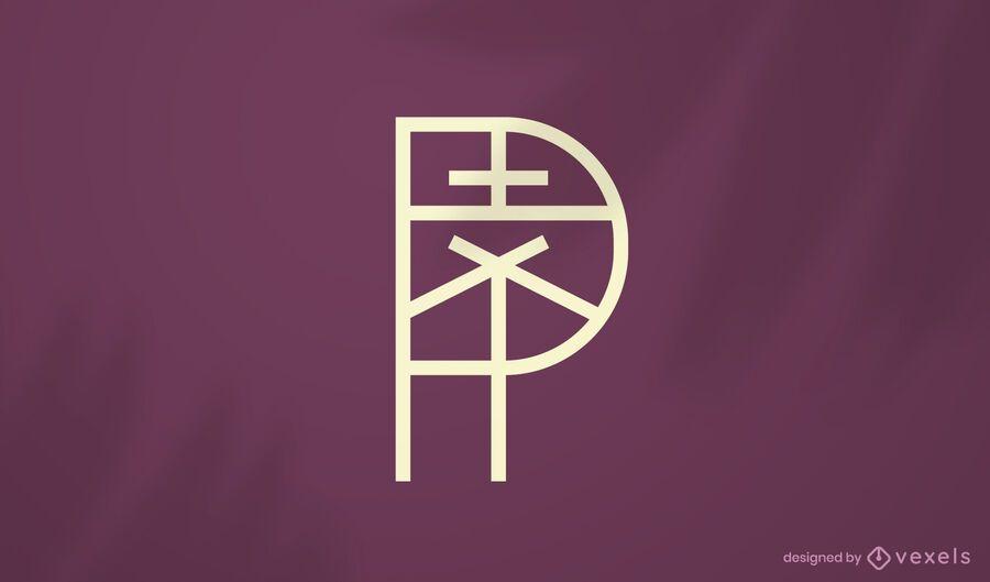 Plantilla de logotipo de trazo geométrico