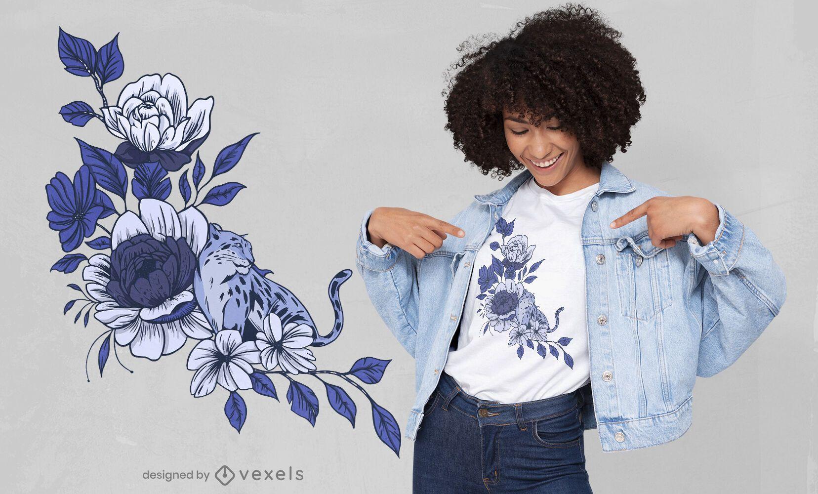 Diseño de camiseta azul lepoard