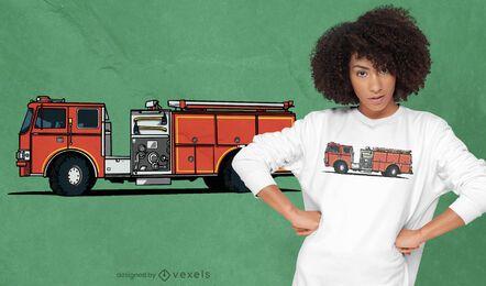Design de t-shirt da viatura de bombeiros
