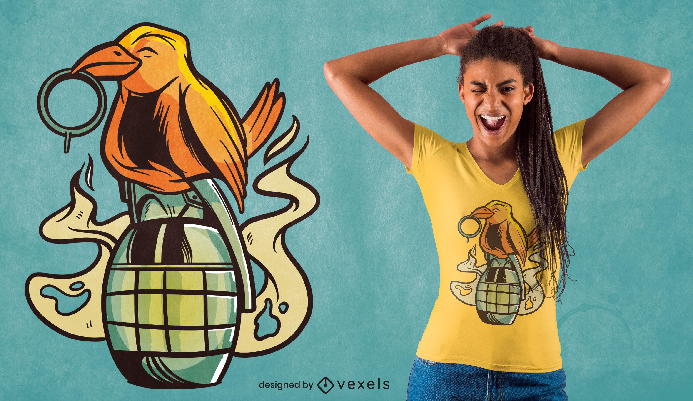 Bird on granade t-shirt design