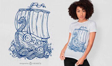 Diseño de camiseta dibujada a mano de barco vikingo.