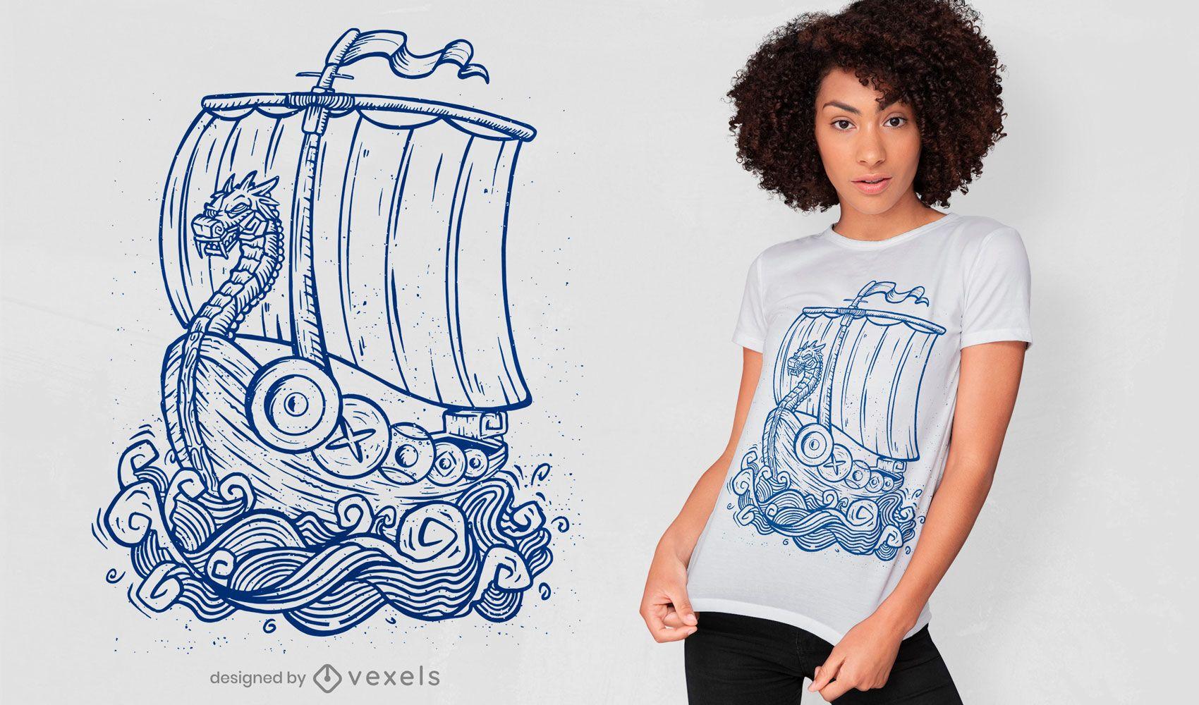 Viking ship hand-drawn t-shirt design