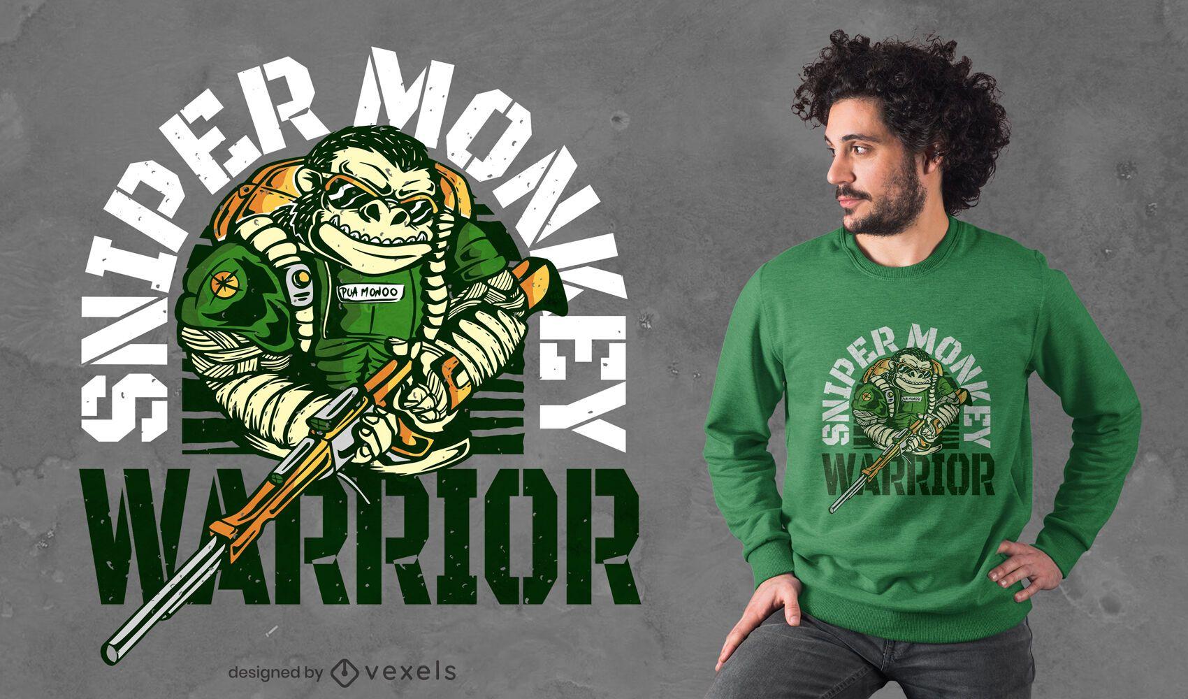 Diseño de camiseta de mono francotirador