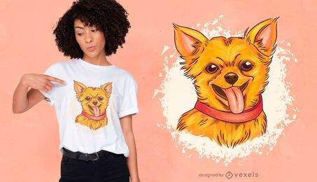 Design de camiseta chihuahua feliz