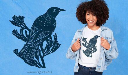 Diseño de camiseta con recorte de pájaro tui