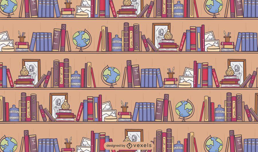Diseño de patrón de libros de biblioteca