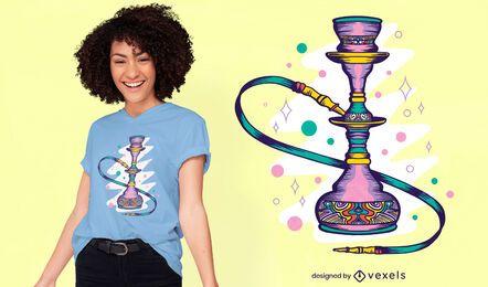 Diseño de camiseta de narguile brillante