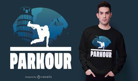 Diseño de camiseta de pisa parkour