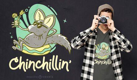 Diseño de camiseta relajada de chinchilla.