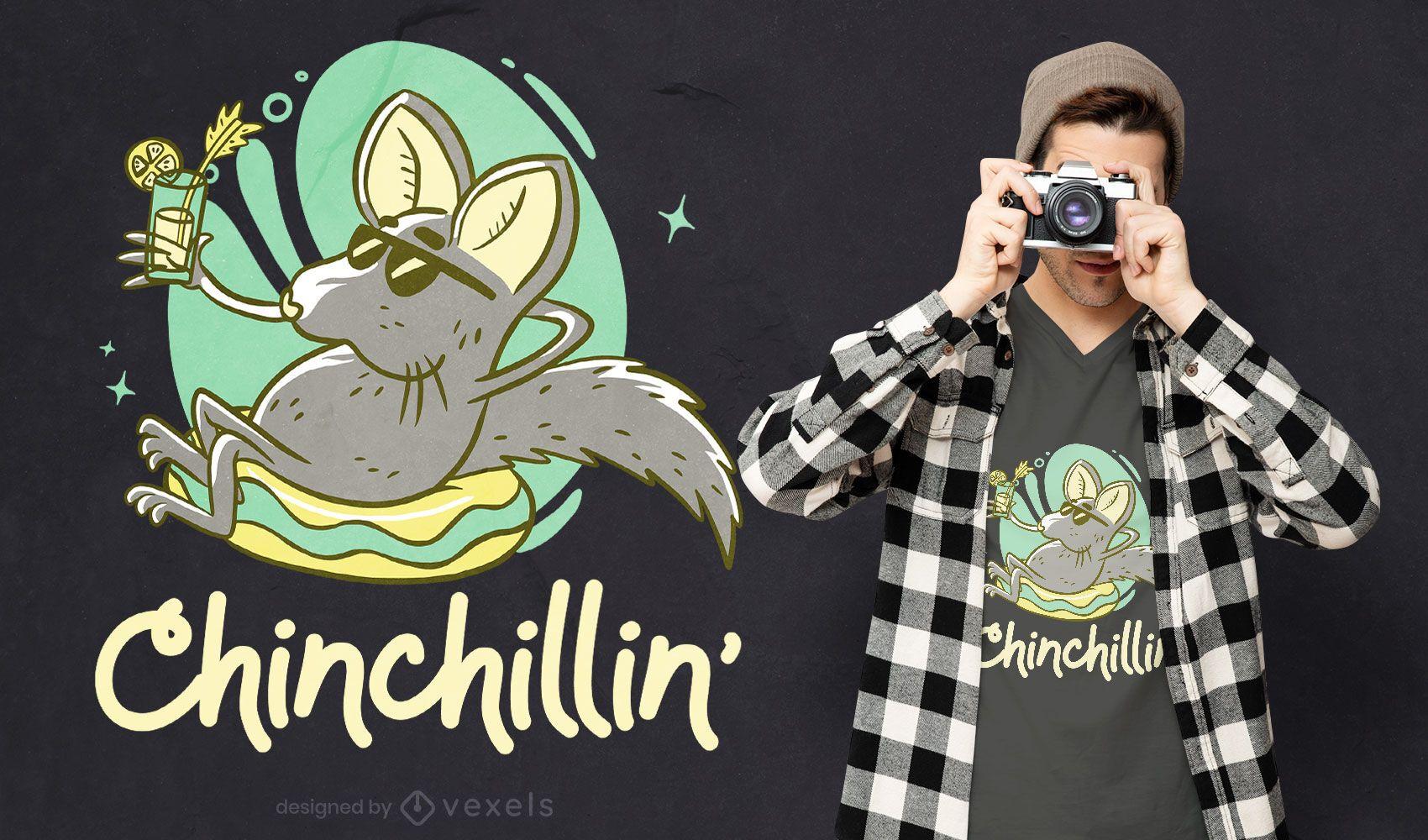 Design de camiseta de chinchila descontraída