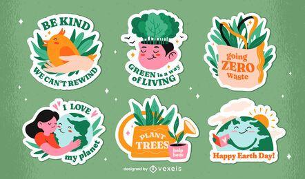 Conjunto de emblemas do Dia da Terra