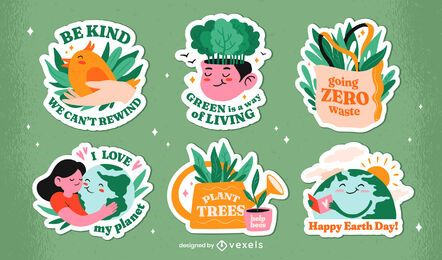 Earth day badge set