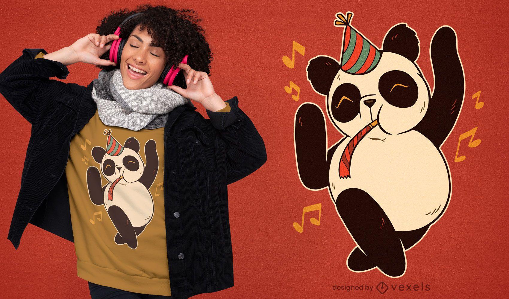 Design de t-shirt de panda de festa