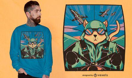 Diseño de camiseta de piloto de gato.